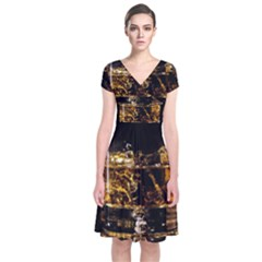 Drink Good Whiskey Short Sleeve Front Wrap Dress