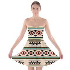 Tribal Pattern Strapless Bra Top Dress