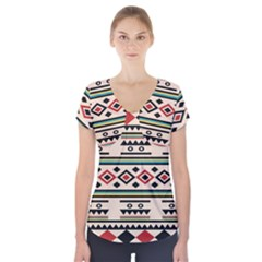 Tribal Pattern Short Sleeve Front Detail Top
