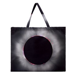 Solar Eclipse Zipper Large Tote Bag