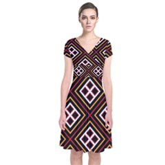 Toraja Pattern Pa re po  Sanguba ( Dancing Alone ) Short Sleeve Front Wrap Dress