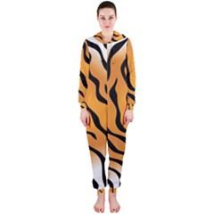 Tiger Skin Pattern Hooded Jumpsuit (ladies)