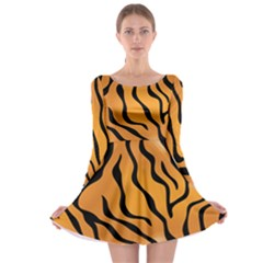 Tiger Skin Pattern Long Sleeve Skater Dress