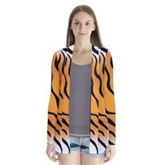 Tiger Skin Pattern Drape Collar Cardigan