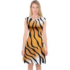 Tiger Skin Pattern Capsleeve Midi Dress