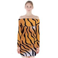 Tiger Skin Pattern Long Sleeve Off Shoulder Dress