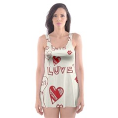 Pattern Hearts Kiss Love Lips Art Vector Skater Dress Swimsuit