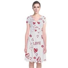 Pattern Hearts Kiss Love Lips Art Vector Short Sleeve Front Wrap Dress