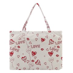 Pattern Hearts Kiss Love Lips Art Vector Medium Tote Bag