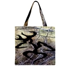 Black Love Browning Deer Camo Zipper Grocery Tote Bag