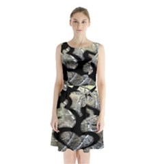 Black Love Browning Deer Camo Sleeveless Waist Tie Chiffon Dress