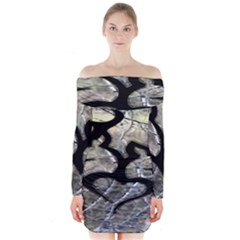 Black Love Browning Deer Camo Long Sleeve Off Shoulder Dress