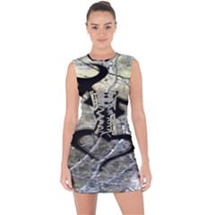 Black Love Browning Deer Camo Lace Up Front Bodycon Dress