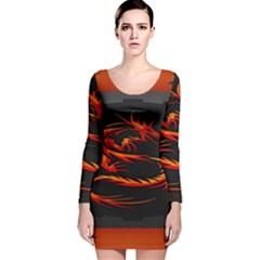 Dragon Long Sleeve Velvet Bodycon Dress