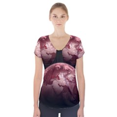 Planet Fantasy Art Short Sleeve Front Detail Top