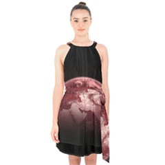 Planet Fantasy Art Halter Collar Waist Tie Chiffon Dress