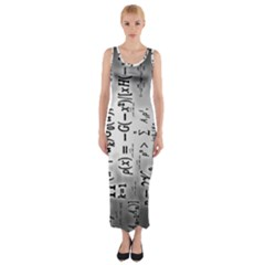Science Formulas Fitted Maxi Dress