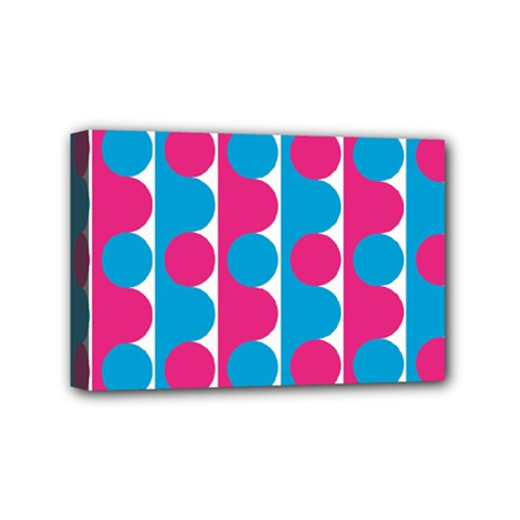 Pink And Bluedots Pattern Mini Canvas 6  X 4