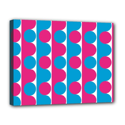 Pink And Bluedots Pattern Canvas 14  X 11