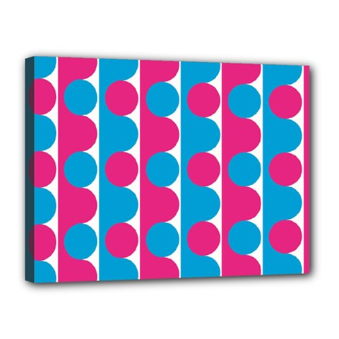 Pink And Bluedots Pattern Canvas 16  X 12
