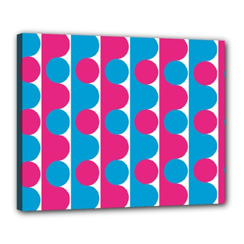 Pink And Bluedots Pattern Canvas 20  X 16