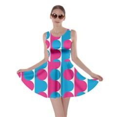Pink And Bluedots Pattern Skater Dress
