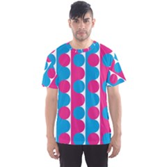 Pink And Bluedots Pattern Men s Sports Mesh Tee