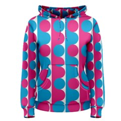 Pink And Bluedots Pattern Women s Pullover Hoodie
