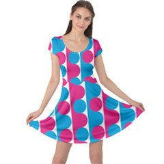 Pink And Bluedots Pattern Cap Sleeve Dresses