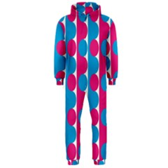 Pink And Bluedots Pattern Hooded Jumpsuit (men)