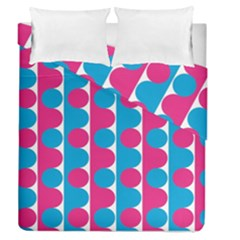 Pink And Bluedots Pattern Duvet Cover Double Side (queen Size)