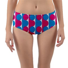 Pink And Bluedots Pattern Reversible Mid Waist Bikini Bottoms