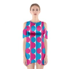 Pink And Bluedots Pattern Shoulder Cutout One Piece