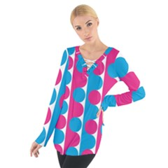 Pink And Bluedots Pattern Tie Up Tee