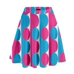 Pink And Bluedots Pattern High Waist Skirt