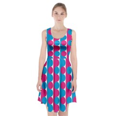 Pink And Bluedots Pattern Racerback Midi Dress
