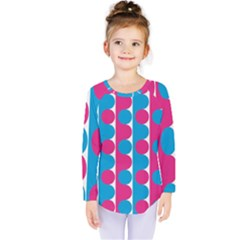 Pink And Bluedots Pattern Kids  Long Sleeve Tee