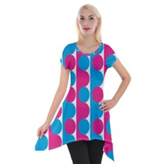 Pink And Bluedots Pattern Short Sleeve Side Drop Tunic