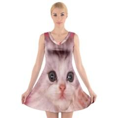 Cat  Animal  Kitten  Pet V Neck Sleeveless Skater Dress