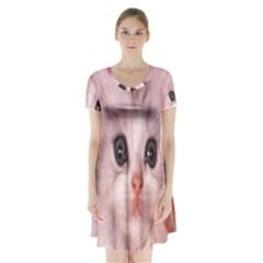 Cat  Animal  Kitten  Pet Short Sleeve V Neck Flare Dress