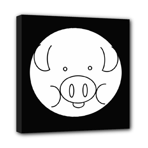 Pig Logo Mini Canvas 8  X 8