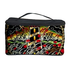 Tattoo Art Print Traditional Artwork Lighthouse Wave Cosmetic Storage Case