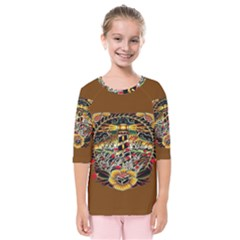 Tattoo Art Print Traditional Artwork Lighthouse Wave Kids  Quarter Sleeve Raglan Tee