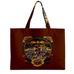 Tattoo Art Print Traditional Artwork Lighthouse Wave Zipper Mini Tote Bag