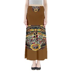 Tattoo Art Print Traditional Artwork Lighthouse Wave Full Length Maxi Skirt