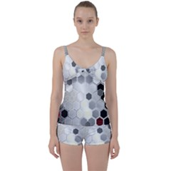 Honeycomb Pattern Tie Front Two Piece Tankini