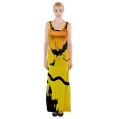 Halloween Night Terrors Maxi Thigh Split Dress