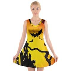 Halloween Night Terrors V Neck Sleeveless Skater Dress