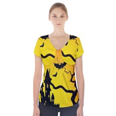 Halloween Night Terrors Short Sleeve Front Detail Top