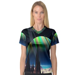 Planets In Space Stars V Neck Sport Mesh Tee